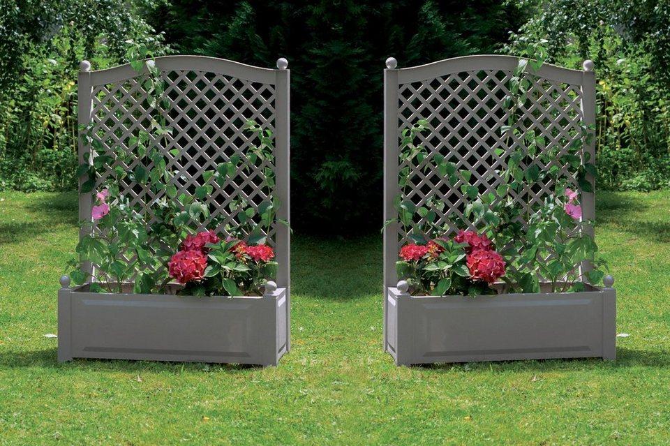 baumhaus verlag khw spalier mit pflanzkasten 2 stk bxtxh je 100x43x140 cm kunststoffspalier
