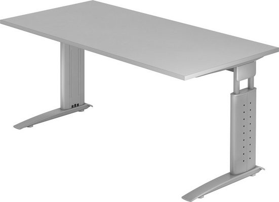 bümö Schreibtisch »OM-US16-S«, höhenverstellbar - Rechteck: 160x80 cm - Gestell: Silber, Dekor: Grau