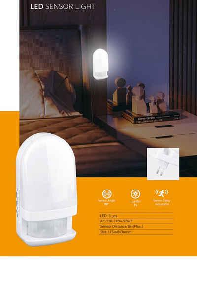 TRANGO LED Nachtlicht, 11-038 LED Sensor Nachtlicht in Weiß mit Automatikfunktion I direkt 230V I mit Bewegungssensor I Sicherheitslicht I Steckdose I Lampe I Wandlampe I Orientierungslicht I Einschlafhilfe I 3000K warmweiß