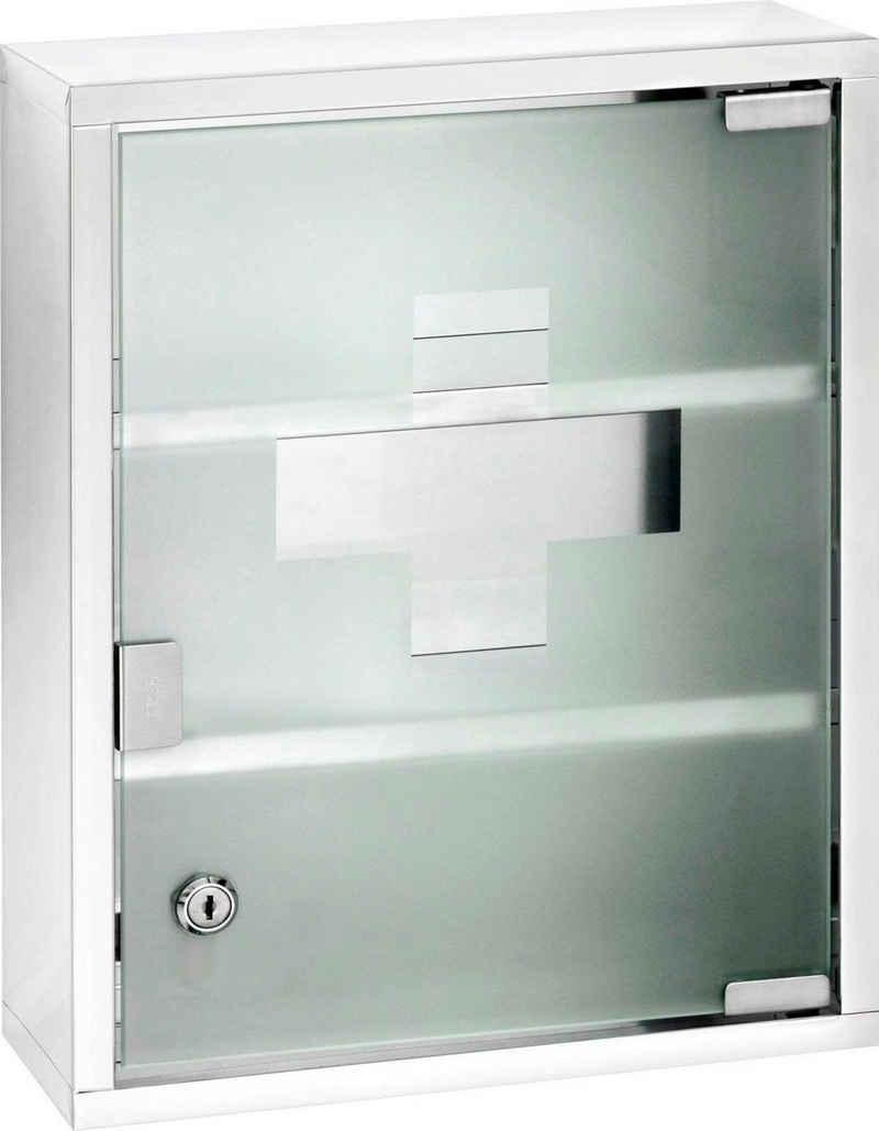 WENKO Medizinschrank Edelstahl und satiniertes Sicherheitsglas, 30 x 40 cm cm