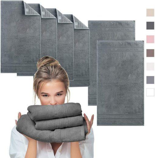 SEI Design Handtuch Set »AQUA-FIBRO Antrazit« (6-tlg), 100% Ägäis Baumwolle