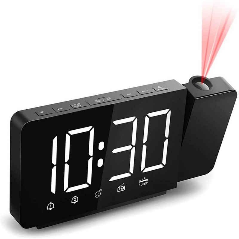 GlobaLink Projektionswecker »Radiowecker mit Projektion« 7,4'' Digital Projektionswecker Dual-Alarm und Snooze,FM Radio, 3 Display-Helligkeit (wei),2 Projektion Helligkeit, 180° Dreh-Projektor, 360°Projektionsanzeige