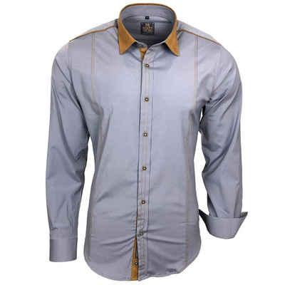 Rusty Neal Freizeit-Hemd mit farblich abgesetztem Kragen