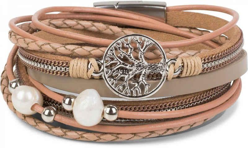 styleBREAKER Wickelarmband »Wickelarmband mit Perlen, Kette & Lebensbaum«, Wickelarmband mit Perlen, Kette & Lebensbaum