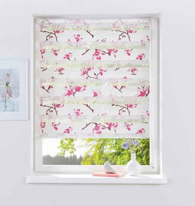 Klemmfix Rollo Seitenzugrollo Lichtschutzrollo Orchidee weiß pink ab 45 cm