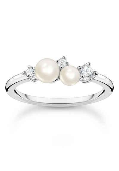 THOMAS SABO Perlenring »Perlen mit Steinen, TR2368-167-14-48-60«, mit Zirkonia (synth) - mit Süßwasserzuchtperle