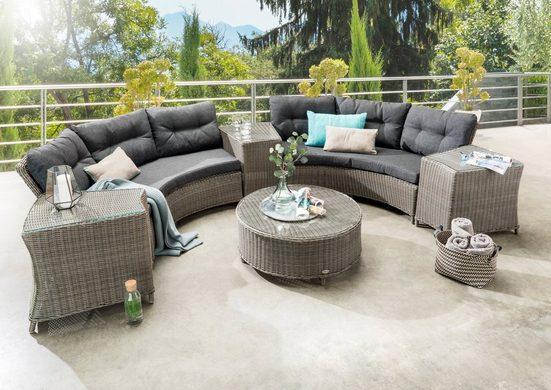 DESTINY Loungeset »RIO «, 14-tlg., 2x3er-Sofa, Tisch Ø 90 cm, Polyrattan