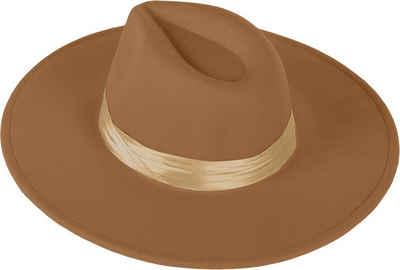 styleBREAKER Fedora »Hut mit breiter Krempe und Zierband« Hut mit breiter Krempe und Zierband