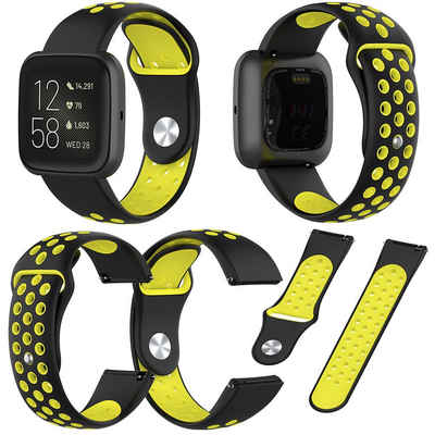 Wigento Für Fitbit Versa 2 Kunststoff / Silikon Armband für Frauen / Größe S Schwarz-Gelb Uhr Fitnessband