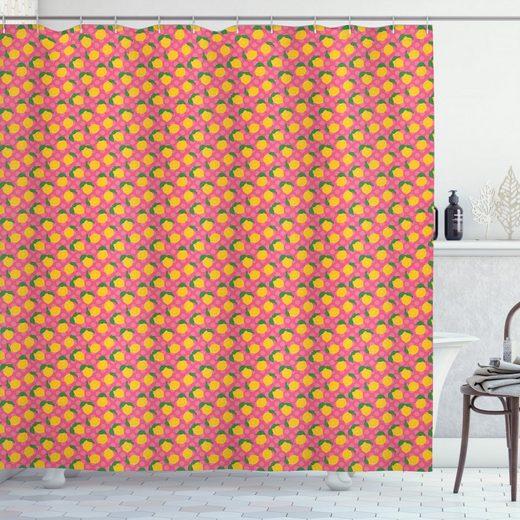 Abakuhaus Duschvorhang »Moderner Digitaldruck mit 12 Haken auf Stoff Wasser Resistent« Breite 175 cm, Höhe 180 cm, Zitrone Zitronen mit Blättern Tupfen