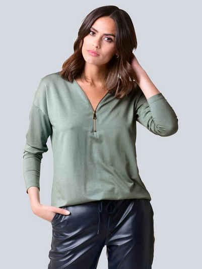 Alba Moda Langarmshirt mit Reißverschluss am Ausschnitt