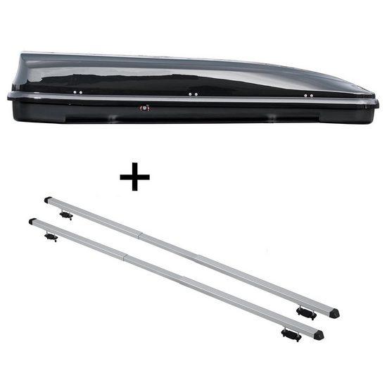 VDP Fahrradträger, Dachbox VDPFL460 460Ltr schwarz glänzend + Dachträger RAPID kompatibel mit Kia Clarus (5Türer) 95-01