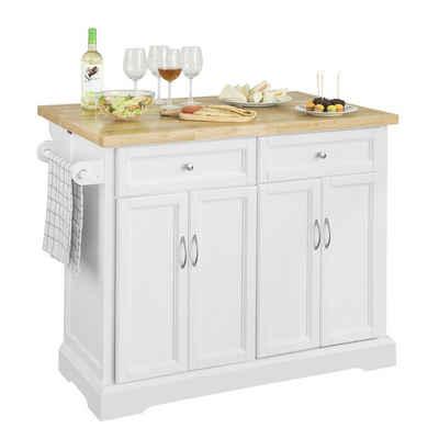SoBuy Küchenwagen »FKW71«, Küchenschrank Kücheninsel mit erweiterbarer Edelstahlarbeitsplatte