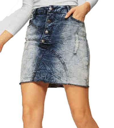 KangaROOS Jeansrock »KangaROOS Jeans-Rock stylischer Damen Denim-Rock Moonwashed Optik 5-Pocket Style Blau«