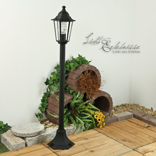 Licht-Erlebnisse Sockelleuchte »VELENCE Stehlampe Schwarz außen Laterne rustikal Garten Hof Lampe«