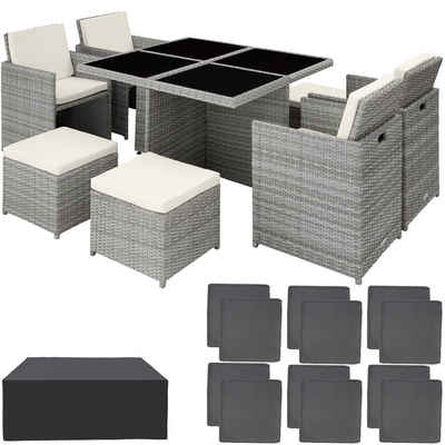 tectake Sitzgruppe »Aluminium Rattan Sitzgruppe Manhattan 4+4+1 mit«, (9-tlg)