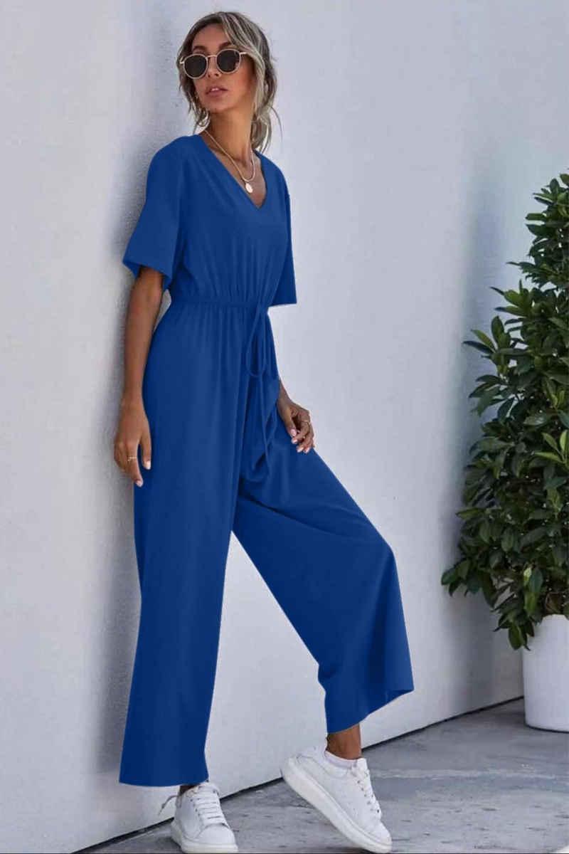 enflame Jumpsuit »3678« Damen Leichter Sommer Jumpsuit Fashion Halbarm Overall Hosenanzug