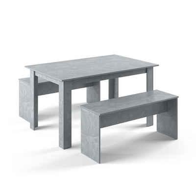 Vicco Essgruppe »Tischgruppe Sitzgruppe Holztisch Esstisch Holz Tisch Beton«