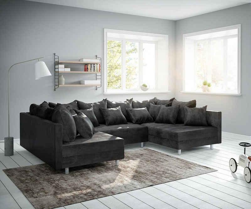 DELIFE Wohnlandschaft »Clovis«, Anthrazit Antik Optik Wohnlandschaft modulares Sofa