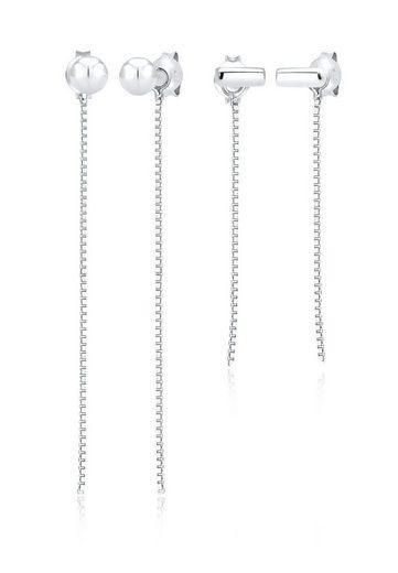 Elli Ohrring-Set »Geo Kugel Stecker Hänger Trend (2 tlg) 925 Silber«, Geo