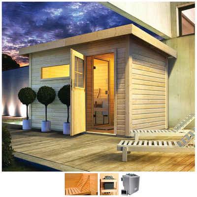 Karibu Saunahaus »Uwe 1«, BxTxH: 373 x 227 x 228 cm, 38 mm, 9-kW-Bio-Ofen mit ext. Steuerung, Vorraum