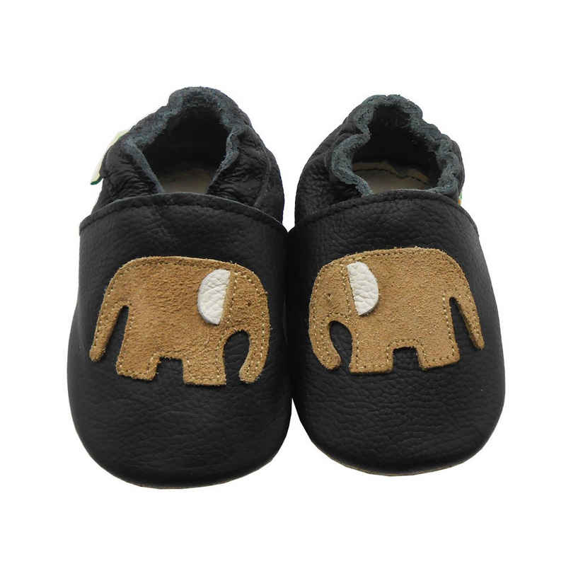 Yalion »Weiche Leder Krabbelschuhe Lauflernschuhe Hausschuhe Lederpuschen Elefant Schwarz 100% Leder« Krabbelschuh