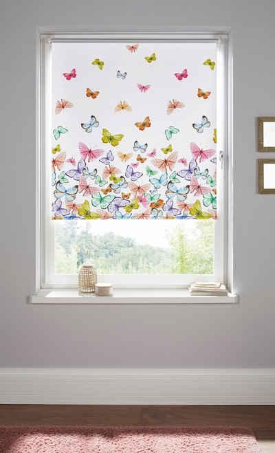 Seitenzugrollo »Butterfly«, Home affaire, verdunkelnd, ohne Bohren, freihängend, Hitzeschutz