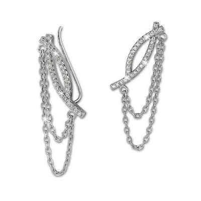 SilberDream Paar Ohrklemmen »GSO412W SilberDream weiß Ear Cuff Kettchen« (Ohrklemme), Damen Ohrklemme Ear Cuff Kettchen 925 Sterling Silber, weiß