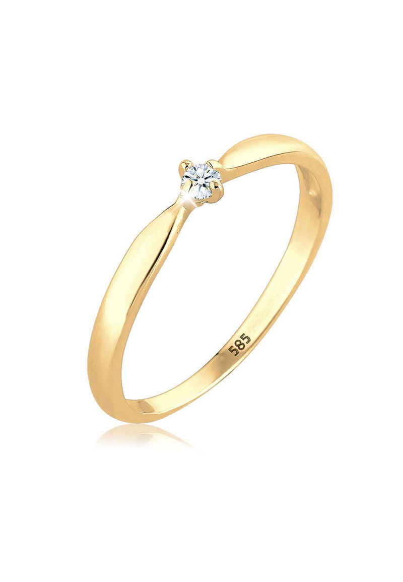 Diamore Verlobungsring »Verlobung Welle Diamant (0.03 ct) 585 Gelbgold«