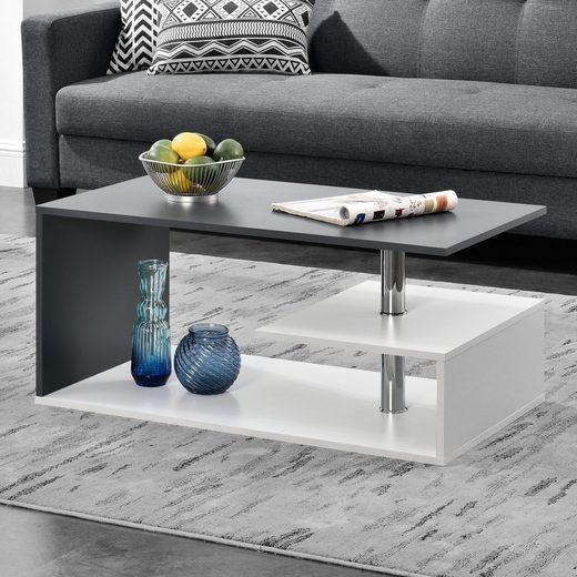 en.casa Couchtisch, »Haarlem« Wohnzimmertisch mit Ablagefach 90x50x41cm weiß / dunkelgrau