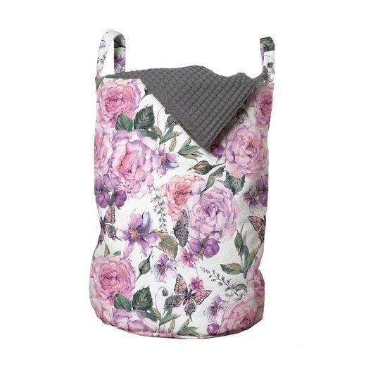 Abakuhaus Wäschesack »Wäschekorb mit Griffen Kordelzugverschluss für Waschsalons«, Blumen Swallowtails und Rosen