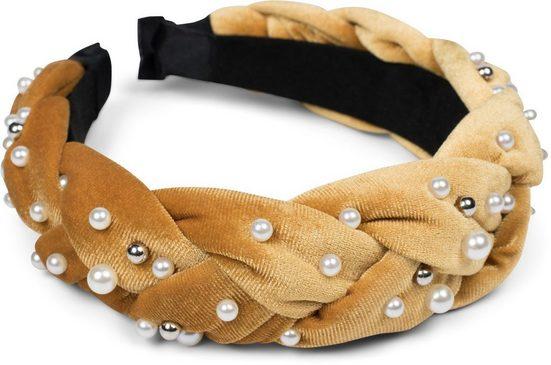 styleBREAKER Haarband »Haarreif Samt geflochten mit Perlen«, 1-tlg., Haarreif Samt geflochten mit Perlen
