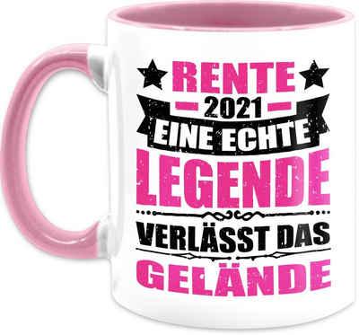 Shirtracer Tasse »Rente 2021 eine echte Legende verlässt das Gelände - fuchsia/schwarz - Kaffeetasse Job Geschenk - Tasse zweifarbig«, Keramik, Beruf Teetasse