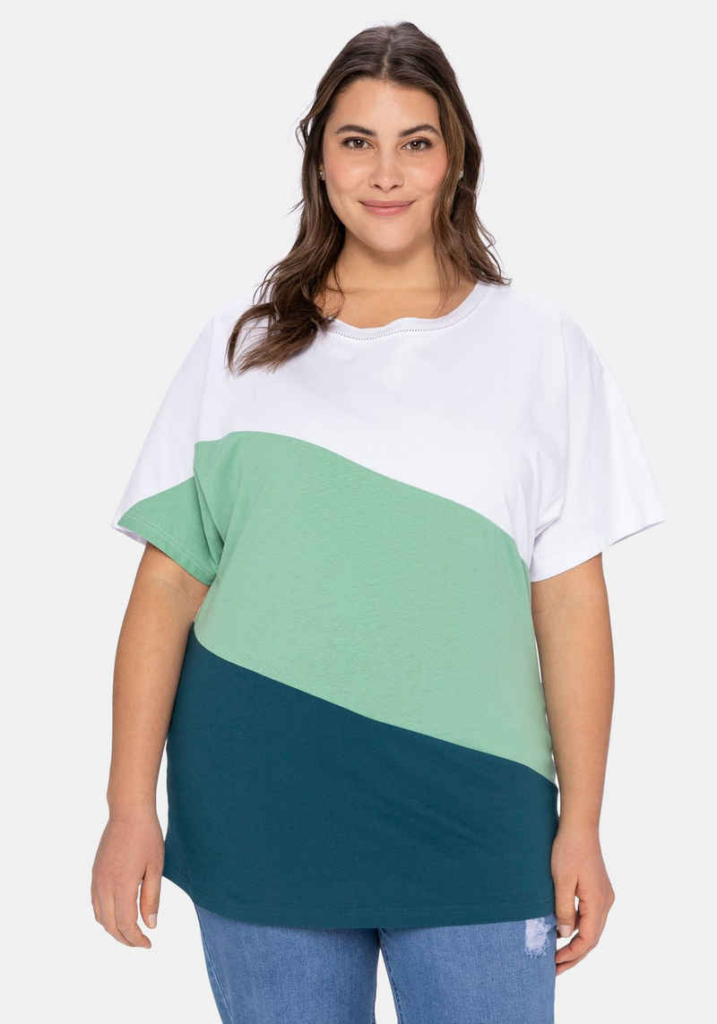 Sheego T-Shirt im Colourblocking-Stil