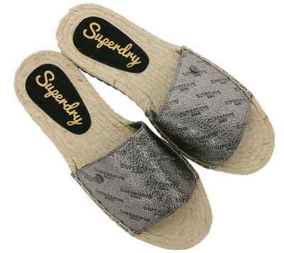 Superdry »Superdry Pantolette super stylische Damen Schlappen aus Lederimitat Sommer-Schuhe Silber« Pantolette