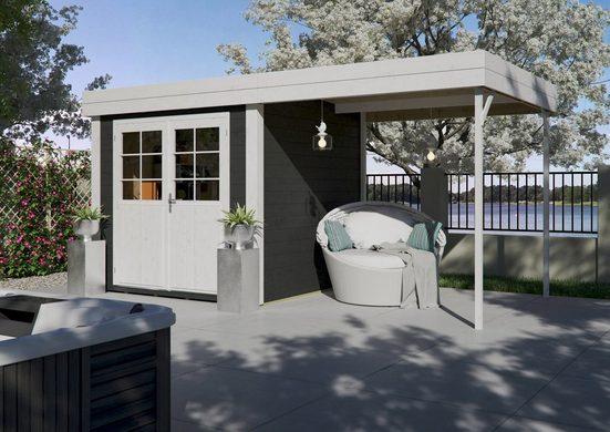 Kiehn-Holz Set: Gartenhaus »Lillevilla 567«, BxT: 475x248 cm, inkl. Aufbau, Anbaudach und Fußboden