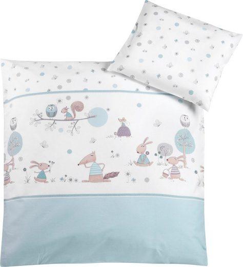 Kinderbettwäsche »Happy Animals mint«, Zöllner, mit unterschiedlichen Tieren