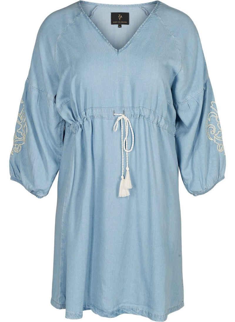 ZAY Jeanskleid Große Größen Damen Denim Kleid mit 3/4 Ärmeln, Bindeband und V Ausschnitt
