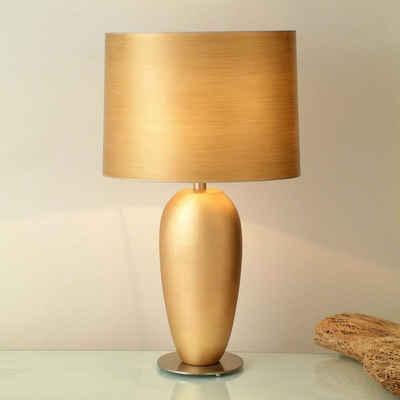Holländer Tischleuchte »Omega Oval Grande Keramik-Metall Blattvergoldet-Vernickelt«