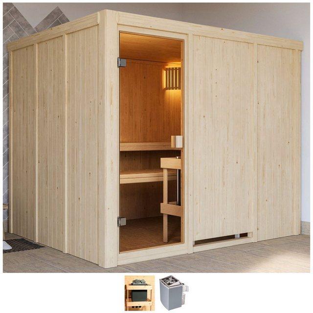 Saunen und Zubehör - Karibu Sauna »Nando«, BxTxH 231 x 196 x 198 cm, 68 mm, 9 kW Ofen mit int. Steuerung  - Onlineshop OTTO