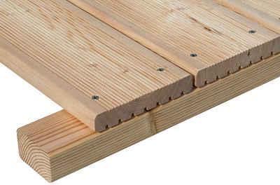 BM Massivholz Terrassendielen, 12 m², BxL: je 14x200 cm, 24 mm Stärke, mit Unterkonstruktion