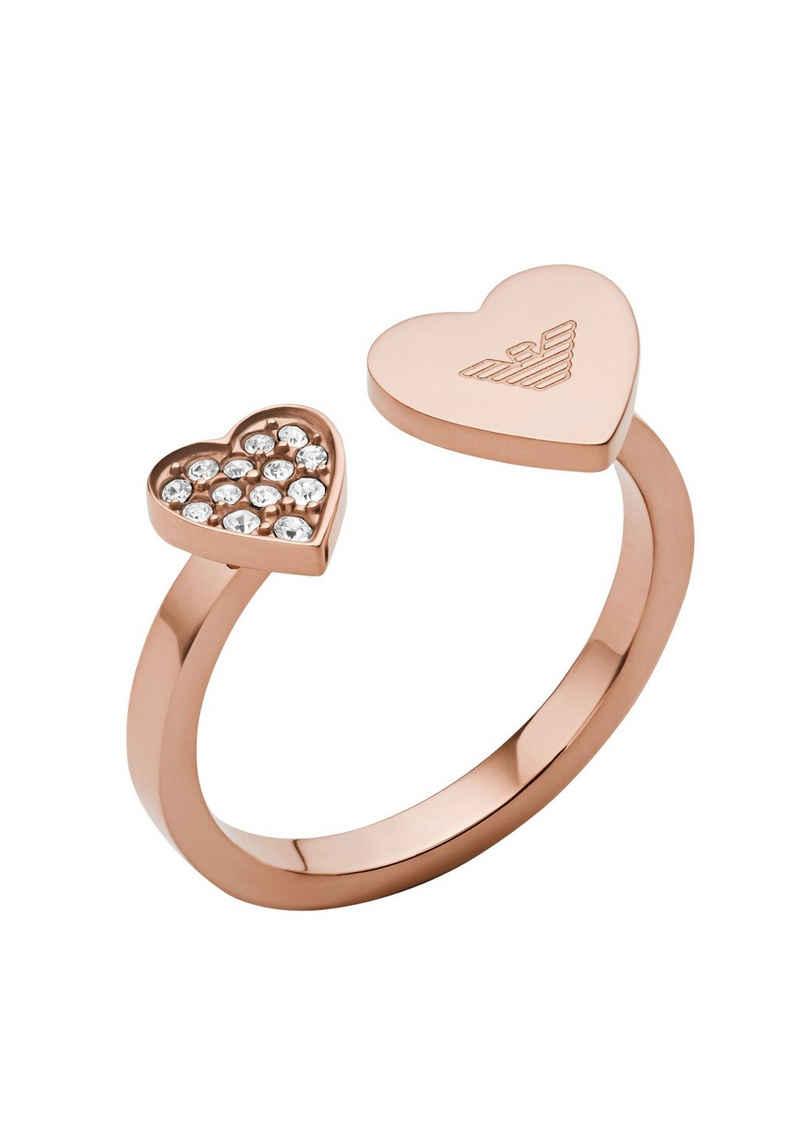 Emporio Armani Fingerring »Herzen, EGS2827221«, mit Glassteinen