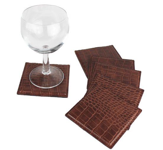 Signature Home Collection Glasuntersetzer, Zubehör für Gläser, Tassen, Set, 6-tlg., Glasuntersetzer Set in Kroko Kunstleder: pflegeleicht & abwischbar