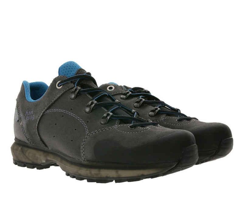 Hanwag »hanwag Saldana Echtleder-Schuhe gemütliche Damen Wanderschuhe Outdoor-Schuhe mit TubeTec Eco-Sohle Grau/Blau« Wanderschuh