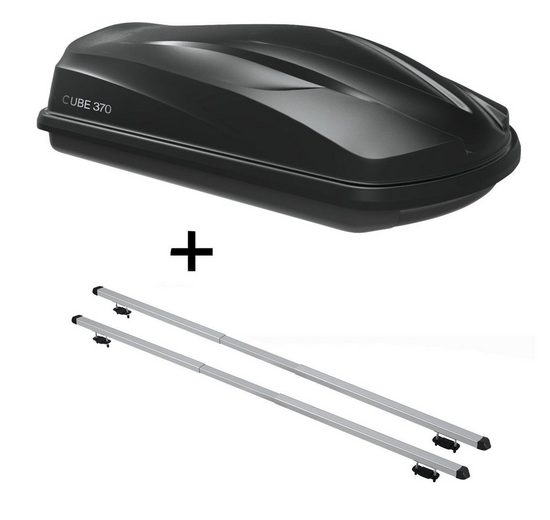 VDP Fahrradträger, Dachbox/Gepäckbox CUBE370 + Dachträger RAPID kompatibel mit Hyundai Getz Cross (5Türer) 06-11