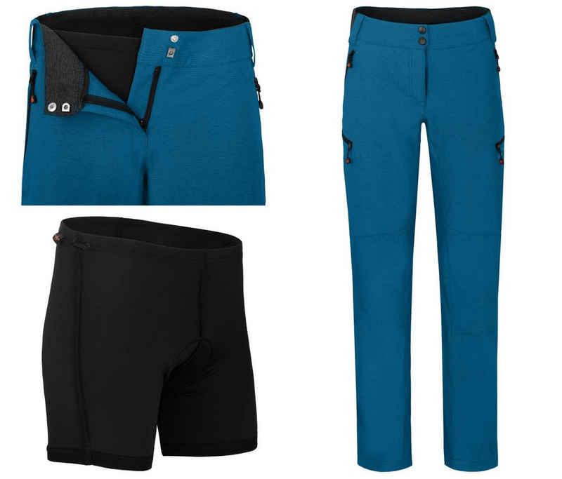 Bergson Fahrradhose »VINA (mit gepolsterter Innenhose)« Damen Radhose, robust, elastisch, Normalgrößen, Saphir blau