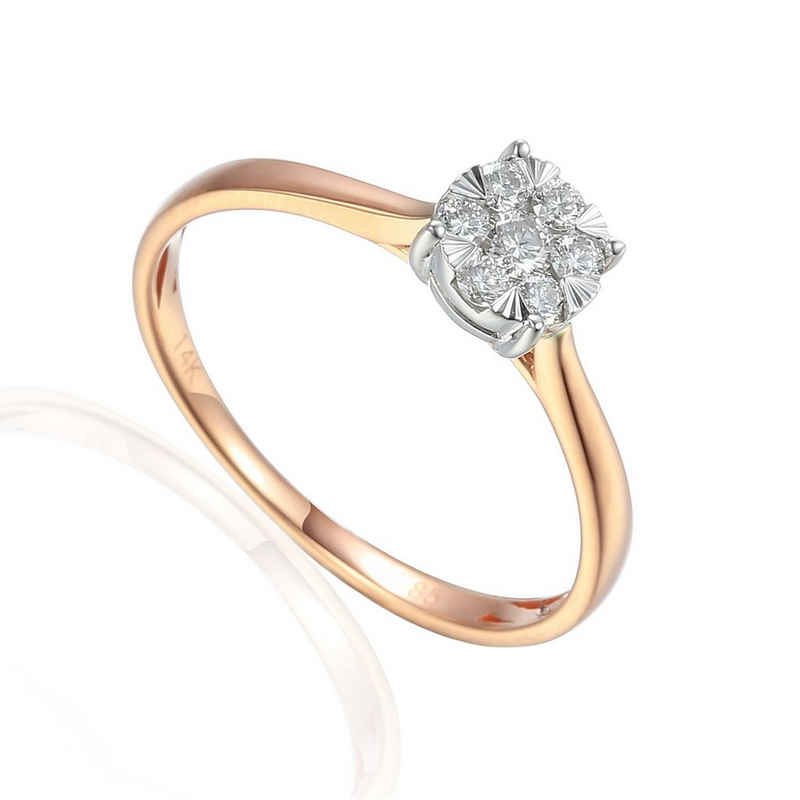 Stella-Jewellery Verlobungsring »585er Rotgold Solitärring Diamant 0,18 ct. Gr. 54« (inkl. Etui), mit 7 Brillant 0,18ct. - poliert