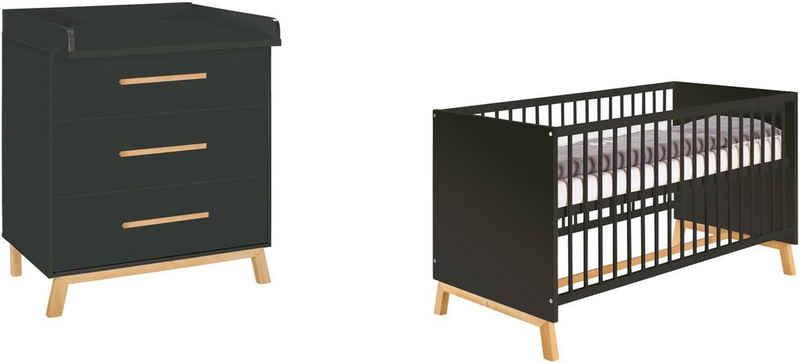 Schardt Babymöbel-Set »Sienna Black«, (Spar-Set, 2-St), mit Kinderbett und Wickelkommode; Made in Germany