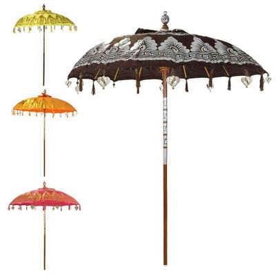Oriental Galerie Sonnenschirm »Balinesischer Sonnenschirm 180 cm Doppelte Bemalung Braun Silber«, Handarbeit