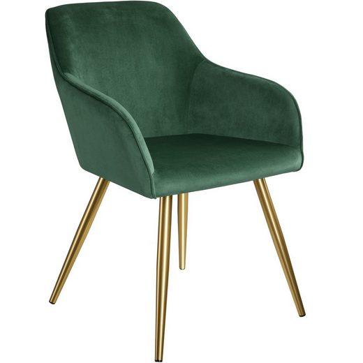 tectake Esszimmerstuhl »Stuhl Marilyn Samtoptik, goldene Stuhlbeine« (1 Stück), gepolstert